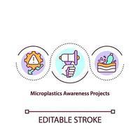 icona del concetto di progetto awereness di microplastiche vettore