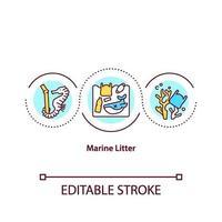 icona del concetto di rifiuti marini vettore