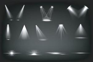 luci da palcoscenico, fasci di riflettori bianchi vettore