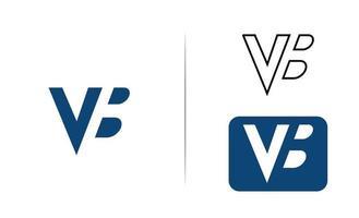 lettera vb modello di logo con spazio negativo vettore