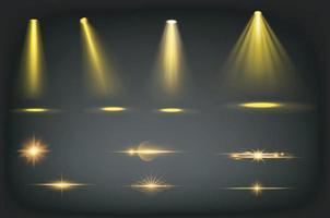 luci da palcoscenico, fasci di riflettori dorati vettore