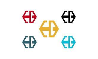 lettera eb esagono concept logo design vettore