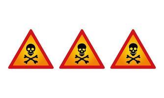 set di segni di pericolo del cranio vettore