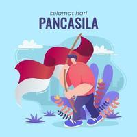 celebra il giorno della pancasila allevando merah putih vettore