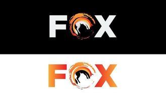 fox lettering logo design vctor vettore