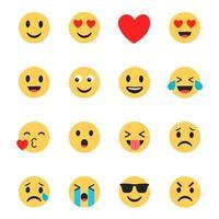 Le icone emoji hanno impostato il design piatto vettore