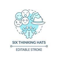 sei cappelli di pensiero blu concetto icona vettore