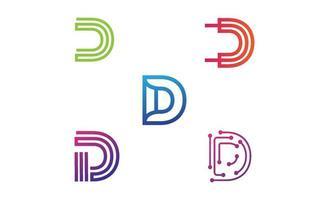 iniziale d monogramma logo set design template vector