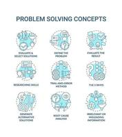 problem solving concetto blu set di icone vettore