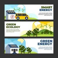 insieme di modelli di banner eco tecnologia verde vettore