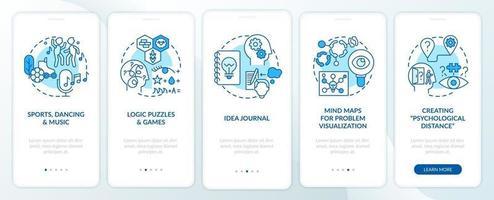 Suggerimenti per migliorare le capacità di problem solving Schermata blu della pagina dell'app per dispositivi mobili di onboarding con concetti vettore