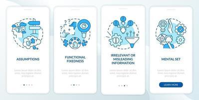 risoluzione degli ostacoli schermata blu della pagina dell'app mobile di onboarding con concetti vettore