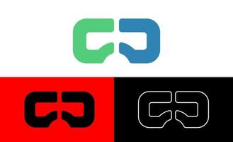 realtà virtuale, vr, illustrazione di vettore del modello di logo di visione, elemento dell'icona isolato