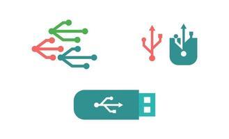 modello di vettore logo trasferimento dati USB