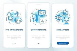 tipi di agente di cambio onboarding schermata della pagina dell'app mobile con concetti vettore