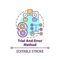 icona di concetto di metodo di prova ed errore vettore