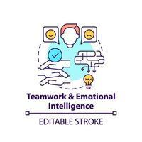 icona del concetto di lavoro di squadra e intelligenza emotiva vettore