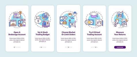 passaggi di compravendita di azioni onboarding schermata della pagina dell'app mobile con concetti vettore