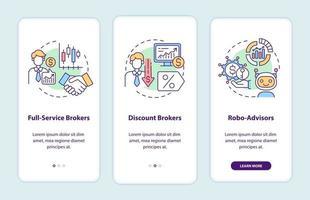 tipi di broker onboarding schermata della pagina dell'app mobile con concetti vettore