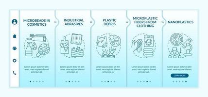 tipi di microplastiche modello vettoriale di onboarding