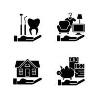 assicurazione e protezione icone glifo nero impostato su uno spazio bianco vettore