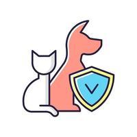 icona di colore rgb assicurazione per animali domestici vettore