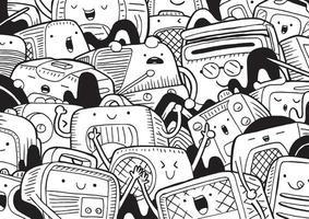 doodle radio con illustrazione vettoriale