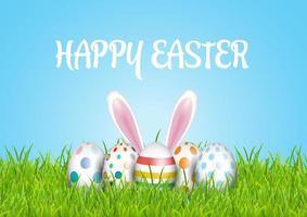 sfondo di Pasqua con uova in erba e orecchie da coniglio vettore