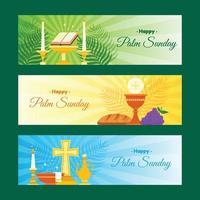 set di banner domenica delle palme vettore