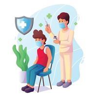medico che vaccina un concetto di paziente vettore