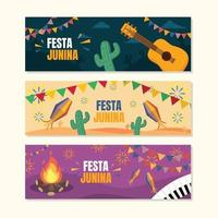 festa junina flat banner design vettore