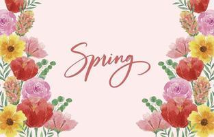 bellissimo sfondo primavera acquerello con fiori che sbocciano vettore