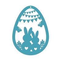 uovo di Pasqua con lepri vettore