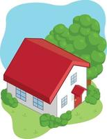 illustrazione di vettore del fumetto di asset di gioco casa isometrica