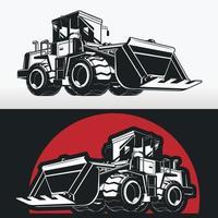 silhouette di costruzione bulldozer, stencil di macchinari pesanti vettore