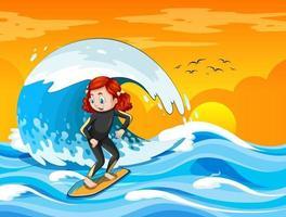 grande onda nella scena dell'oceano con la ragazza in piedi su una tavola da surf vettore