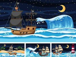 quattro diverse scene di spiaggia con nave pirata vettore