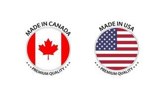 set di due adesivi canadesi e stati uniti d'america. made in canada e made in usa. icone semplici con bandiere isolate su uno sfondo bianco vettore