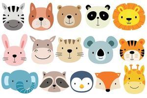faccia animale impostato in stile design piatto. vettore