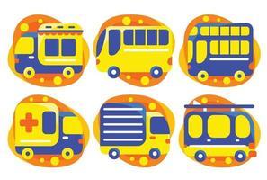set di elementi di trasporto in stile design piatto. vettore