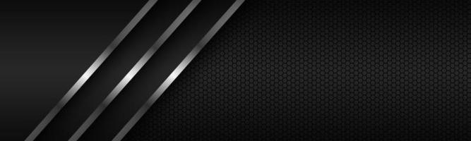 intestazione astratta con linee d'argento su strati sovrapposti e motivo poligonale. modello per banner e presentazione. illustrazione di disegno vettoriale moderno