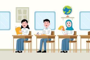 studenti che studiano in classe vettore