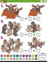 compito educativo di sottrazione con scimmie e scimmie dei cartoni animati vettore