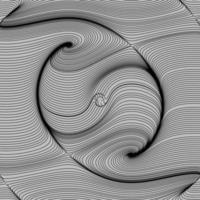 arte ottica, sfondo vettoriale a strisce. grafico di linee di movimento della curva dell'onda nera liscia astratta. yin-yang, vortice, galassia a spirale.