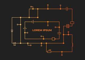 modello di un disegno del circuito con iscrizione su uno sfondo scuro. illustrazione di sfondo per articoli scientifici e tecnici. vettore