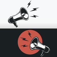 sagoma megafono corno altoparlante, disegno vettoriale stencil nero