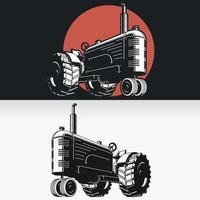 silhouette vintage trattore agricolo, disegno vettoriale isolato stencil
