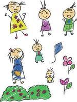 bambini che disegnano, schizzo del bambino, illustrazione di vettore di doodle infantile