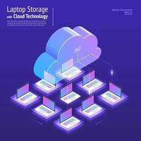 tecnologia cloud isometrica vettore