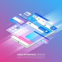 progettazione dell'interfaccia utente isometrica vettore